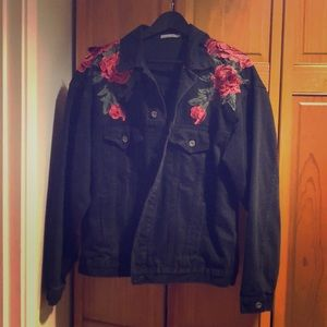 Black Jeans Jacket with Roses